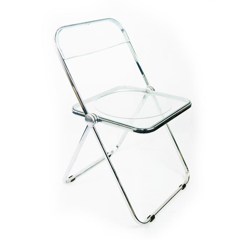 Chaise pliante m tallique transparente bureau fut for Poli arredamenti